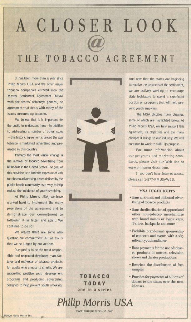 2000 Philip Morris Closer look at tobacco agreement