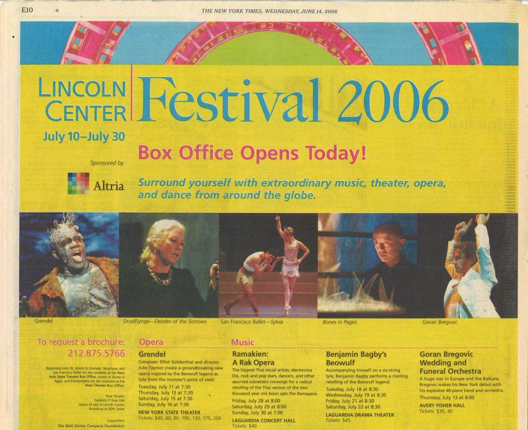 2006 Lincoln Festival New York Times Altria