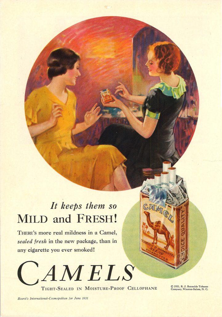 Camel ad New cellophane 1931