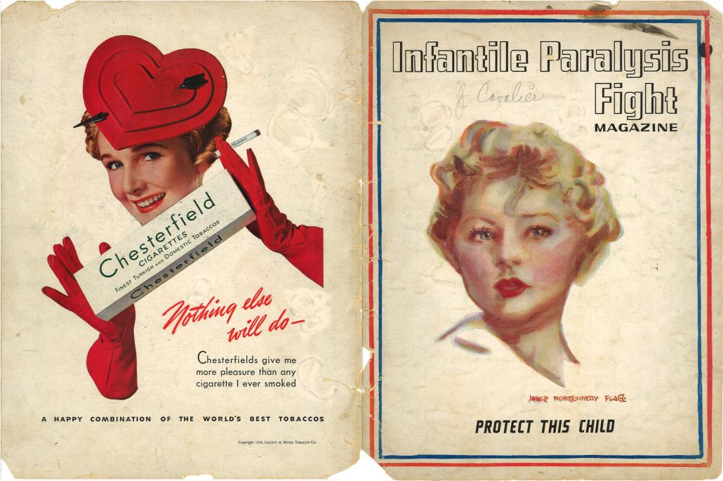 Infantile Paralysis Magazine ca 1940 Chesterfield ad Resize 60