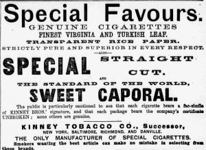 New York Sun 1888 Sweet Caporal ad  detail