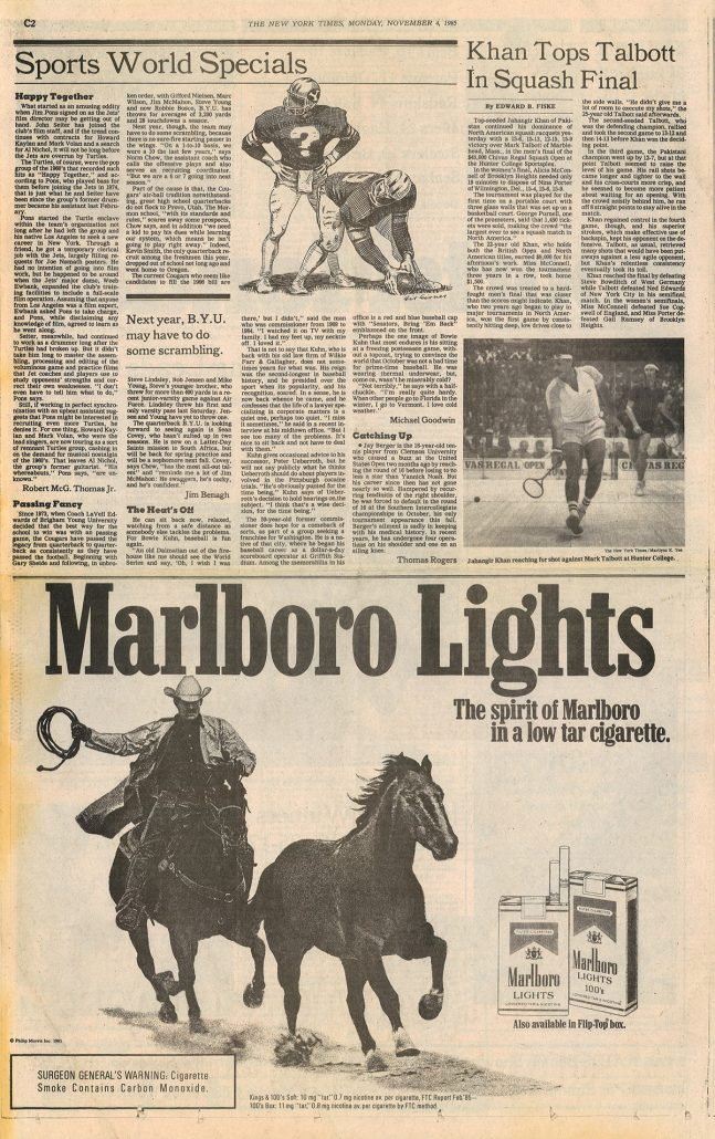New York Times 1985 Marlboro Lights ad re