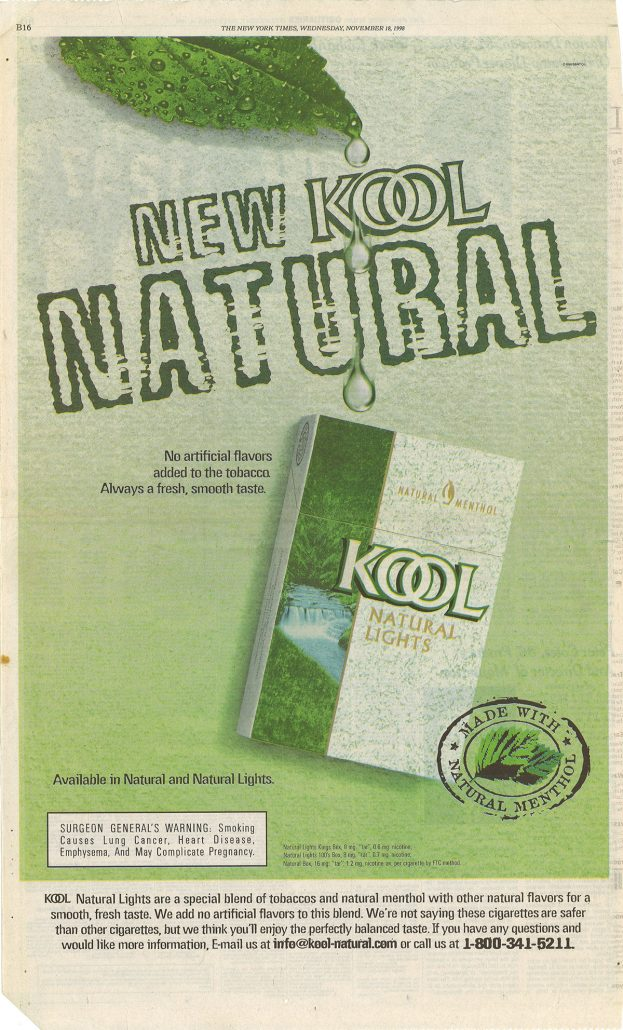 New York Times 1998 Kool ad full page re