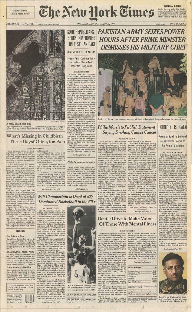 New York Times 1999 Philip Morris statement re