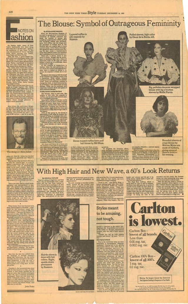New York Times Style page 1980 Carlton ad