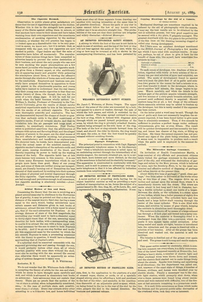Scientific American The Cigarette Doomed 1889  Full