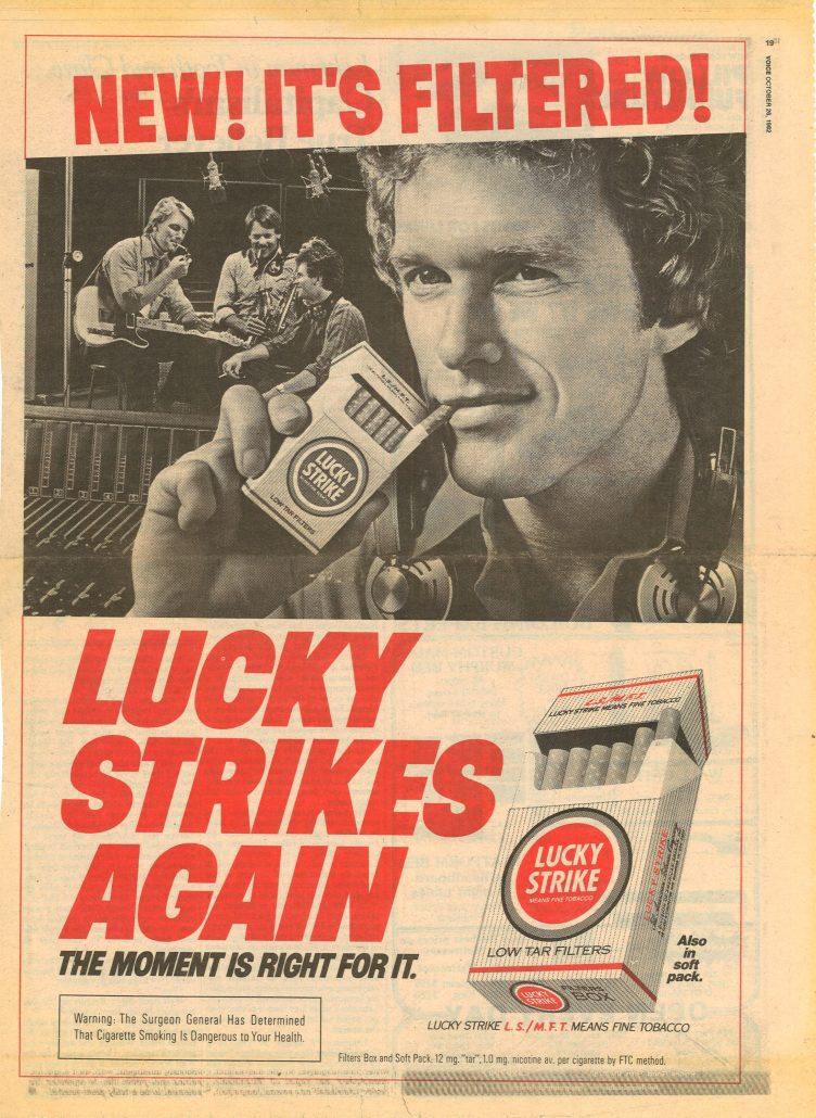 Village Voice 1982 Lucky Strike filters