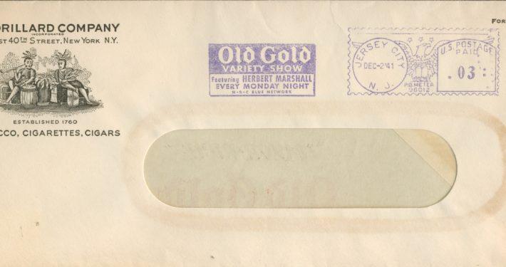 Old Gold Envelope form the P. Lorillard Company 1941