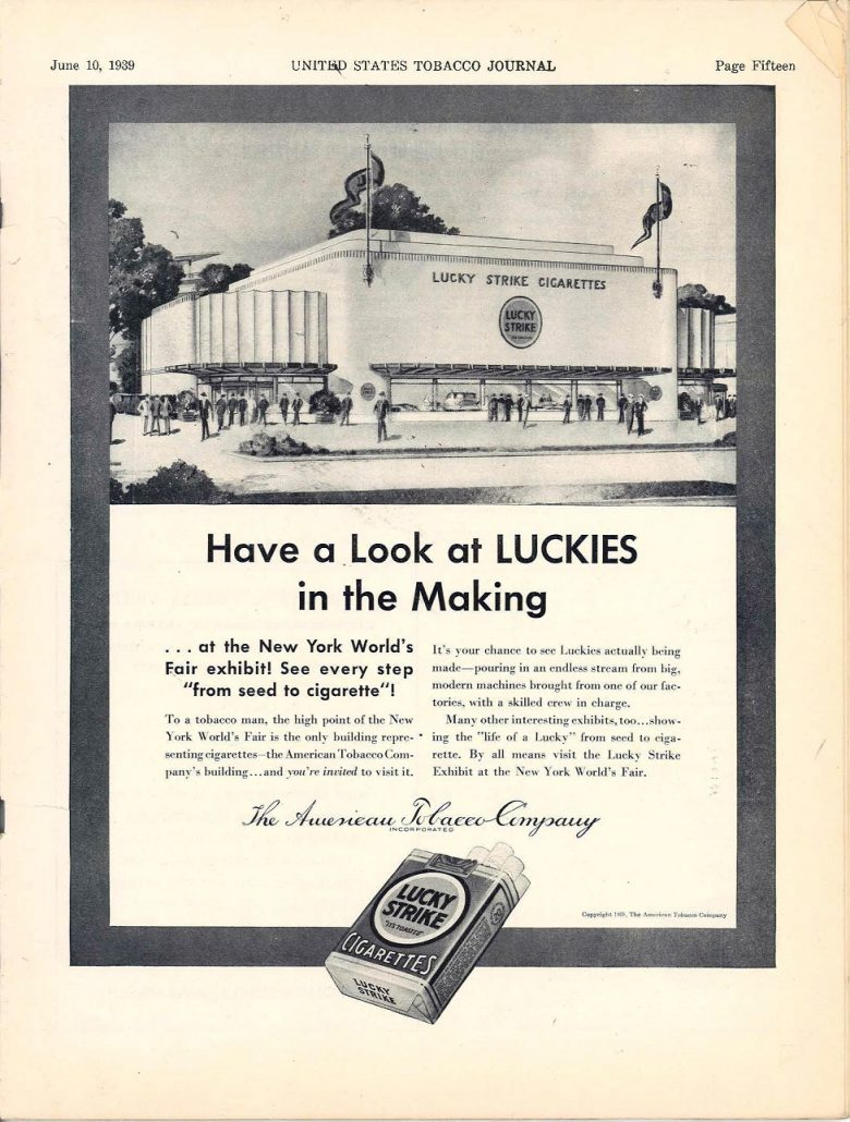 1939 06 10 US Tobacco Journal Lucky Strike Pavilion Ad resize 60