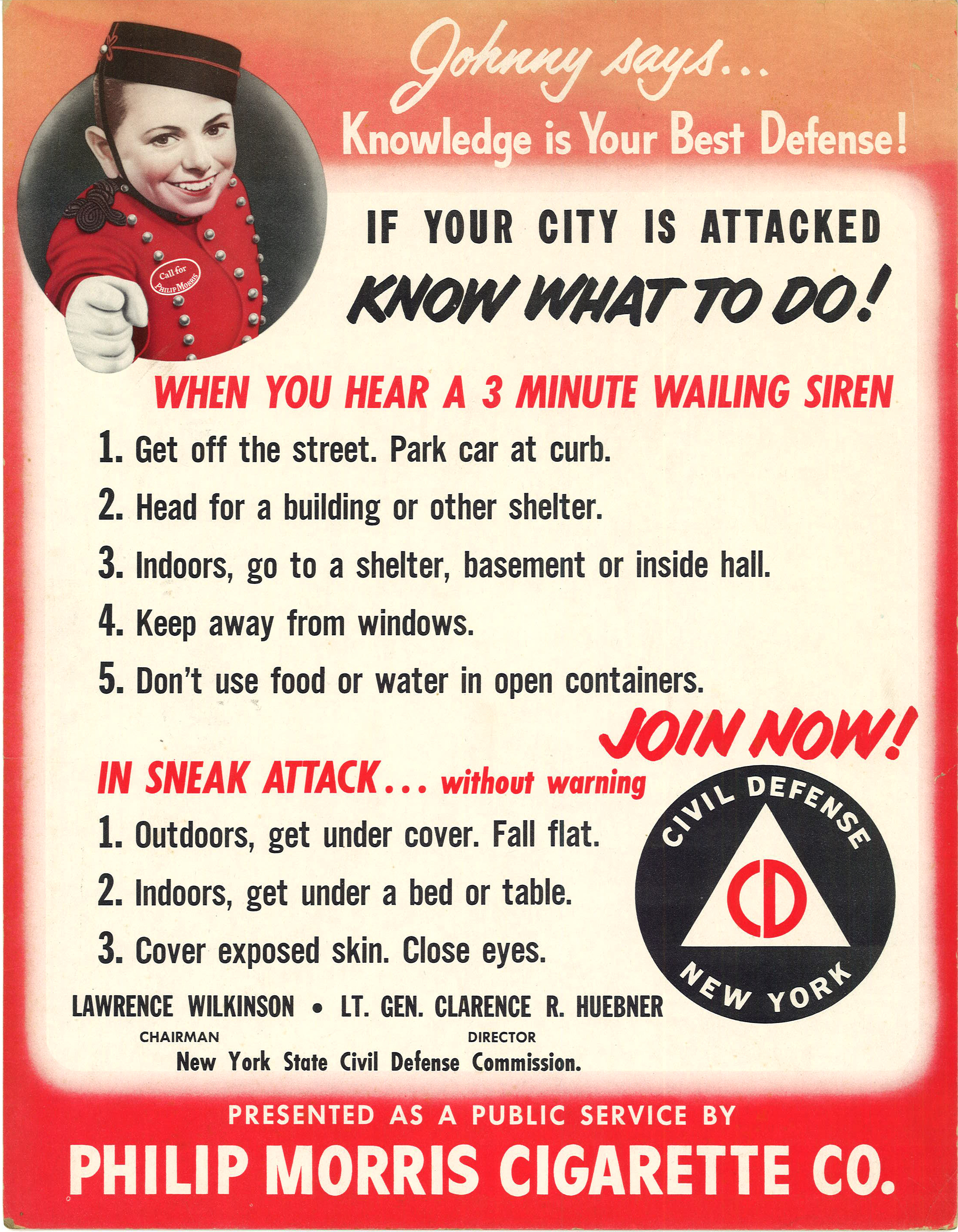 1951 NY Civil Defense Commission Poster