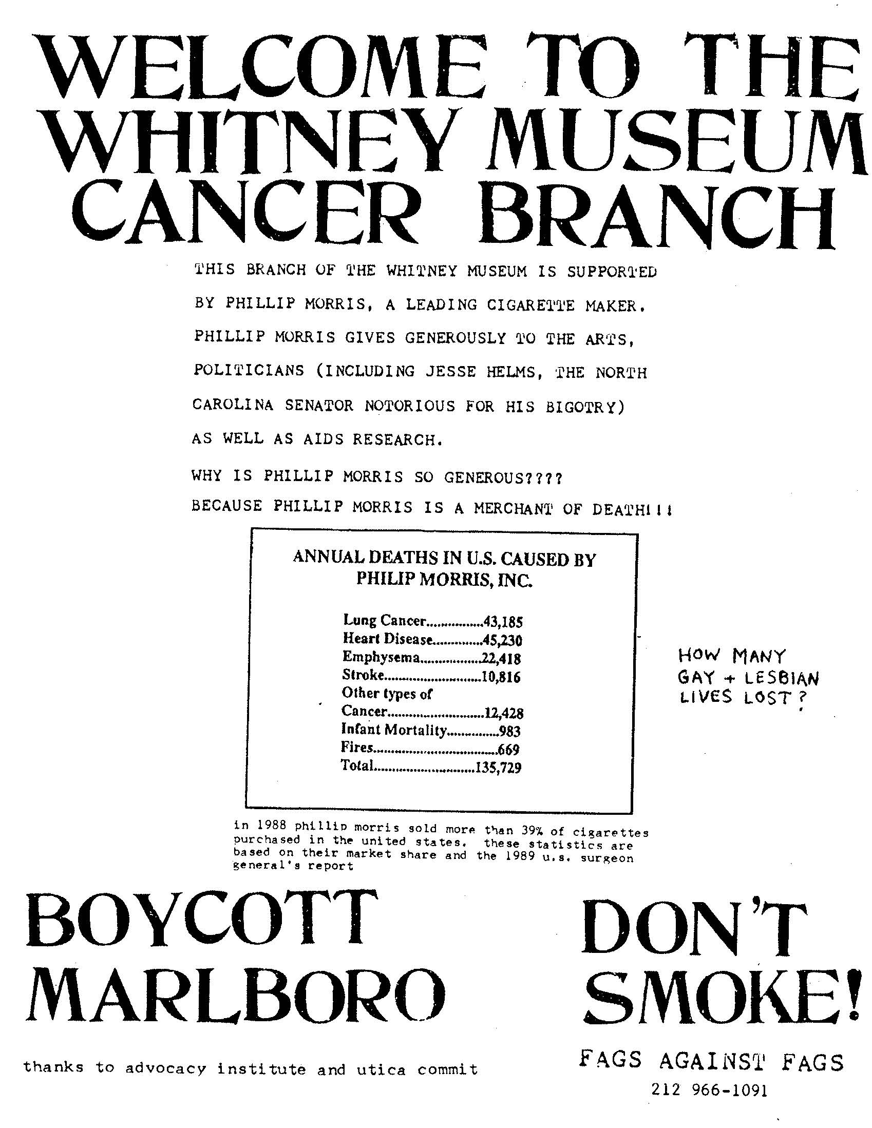 1990 Fags Against Fags Flyer Whitney Protest