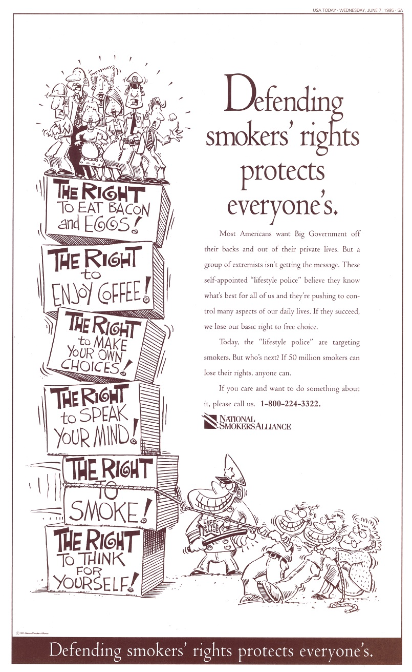Defending Smokers Rights USA Today 6 7 1995