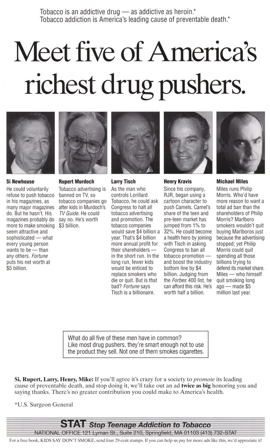 Meet Five of Americas Richest Drug Pushers STAT Stop Teenage Addicition to Tobacco