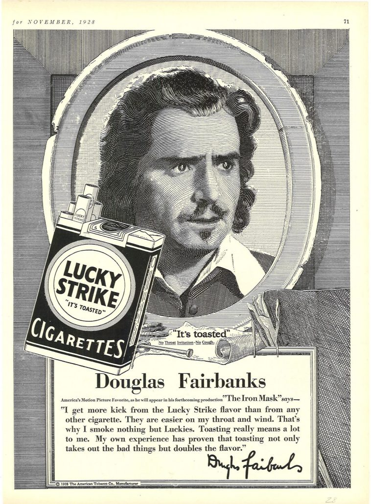 1928 Theatre Magazine Douglas Fairbanks for Lucky Strike 1