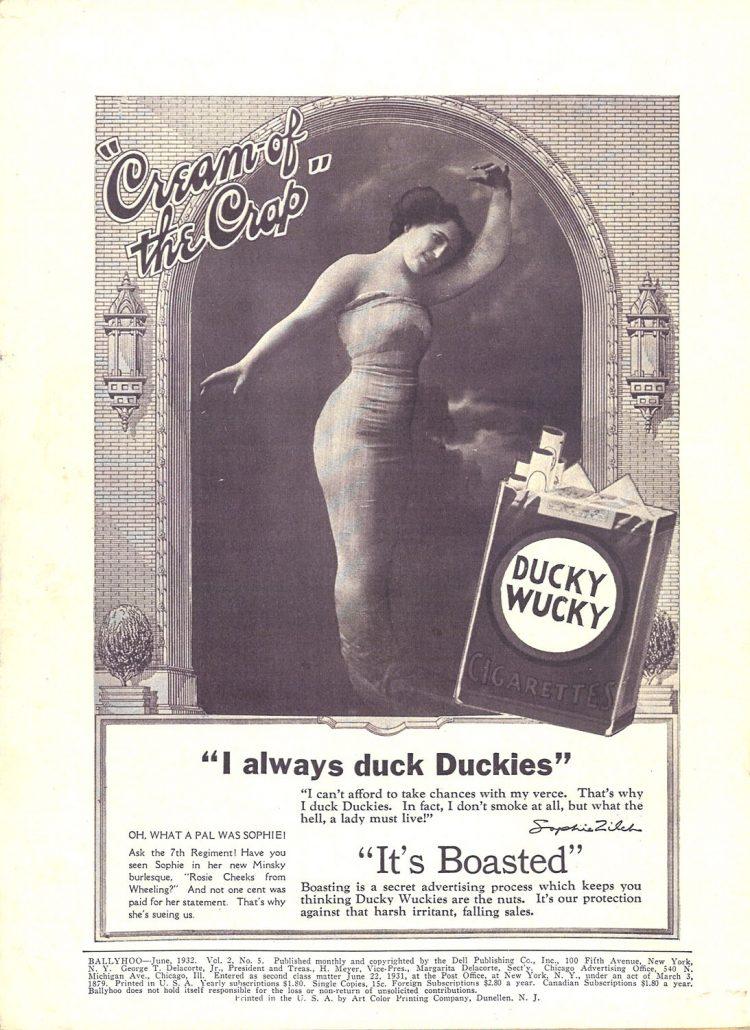 1932 06 Ballyhoo Mag Lucky Strike Ad Parody