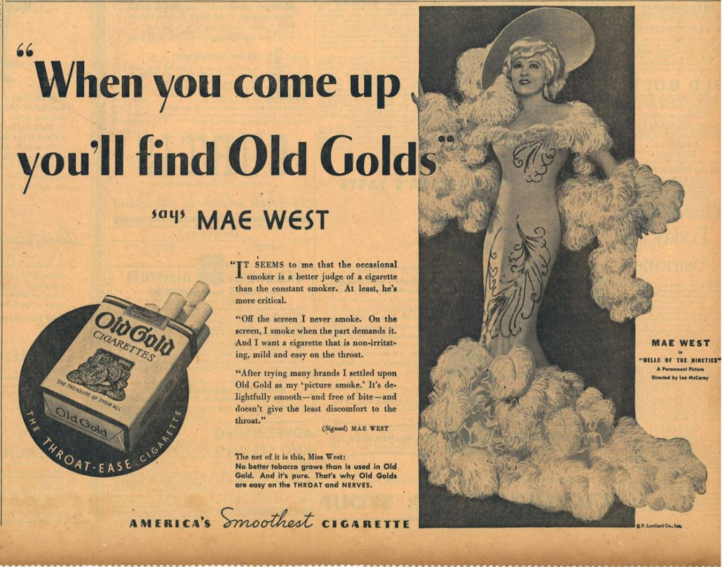 1934 10 01 NY Times Mae West for Old Gold