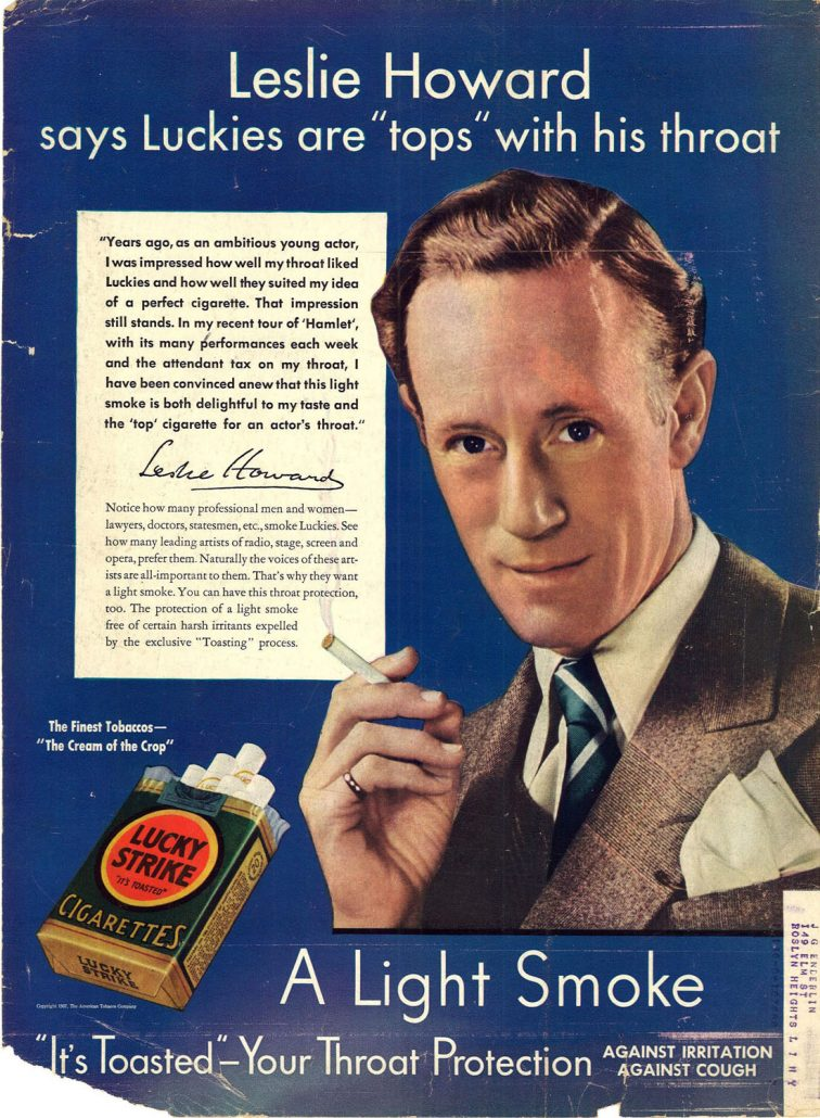 1937 Leslie Howard for Lucky Strike