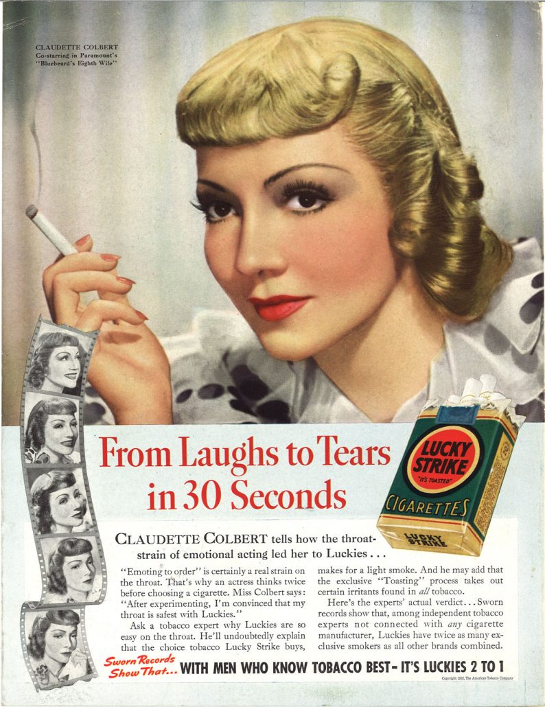 1938 Claudette Colbert for Lucky Strike