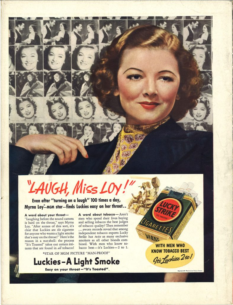 1938 Time Myrna Loy for Lucky Strike
