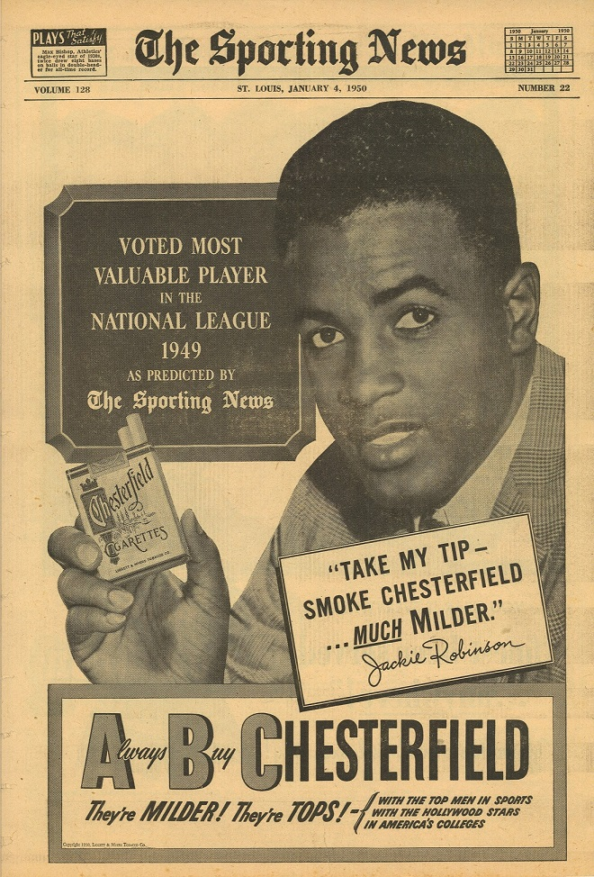 1950 01 04 Sporting News Jackie Robinson for Chesterfield