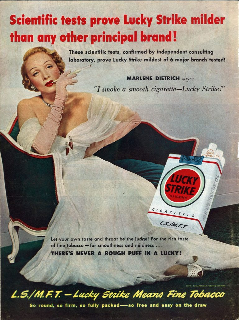 1950 Marlene Dietrich for Lucky Strike
