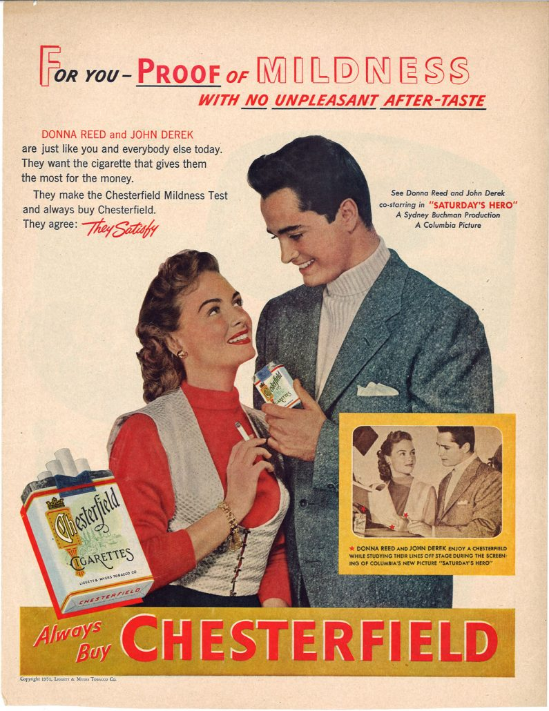 1951 Donna Reed John Derek for Chesterfield