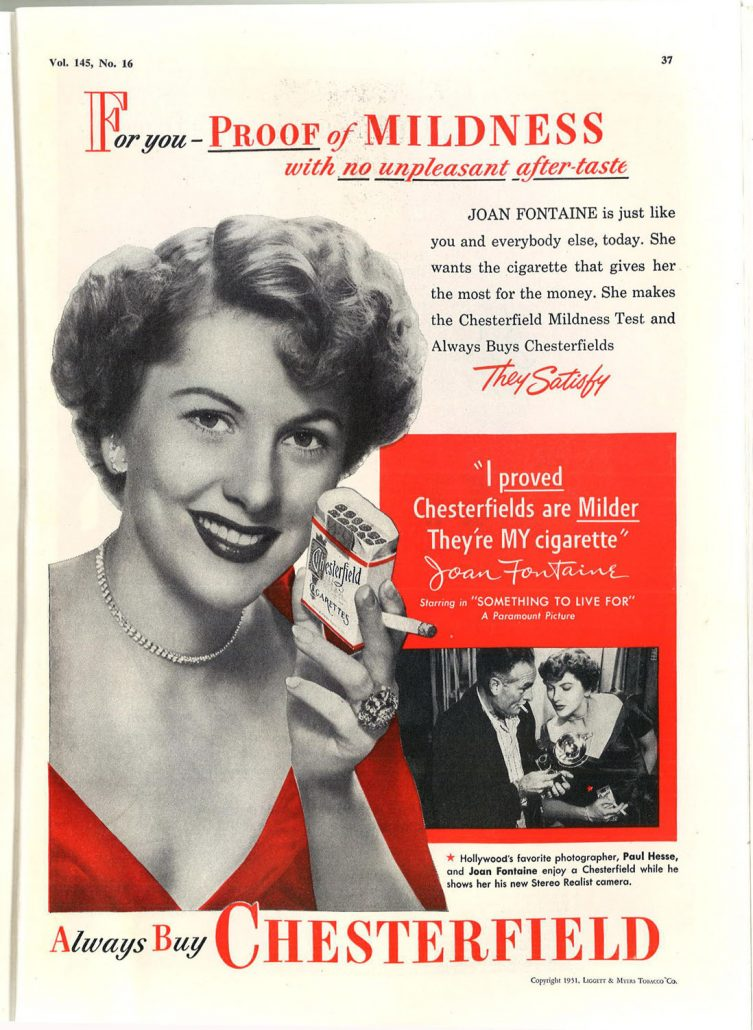 1951 JAMA Joan Fontaine for Chesterfield
