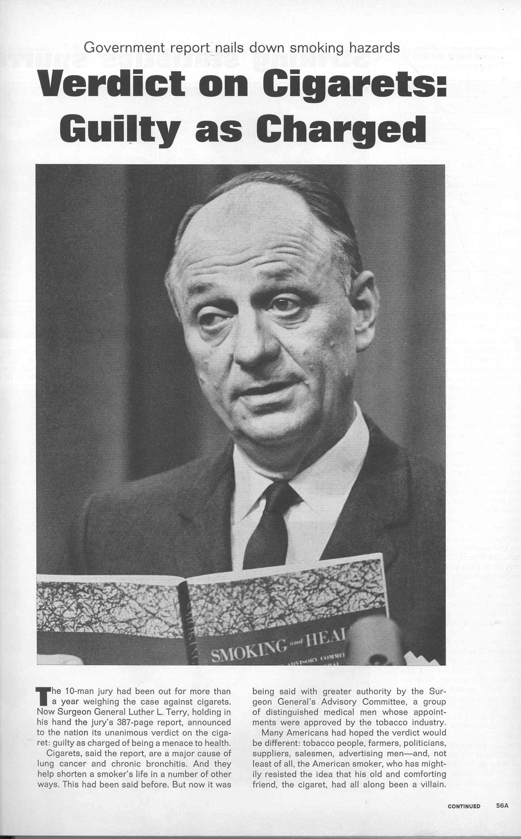 1964 01 24 Life Verdict on Cigs Guilty Minorities and Tobacco