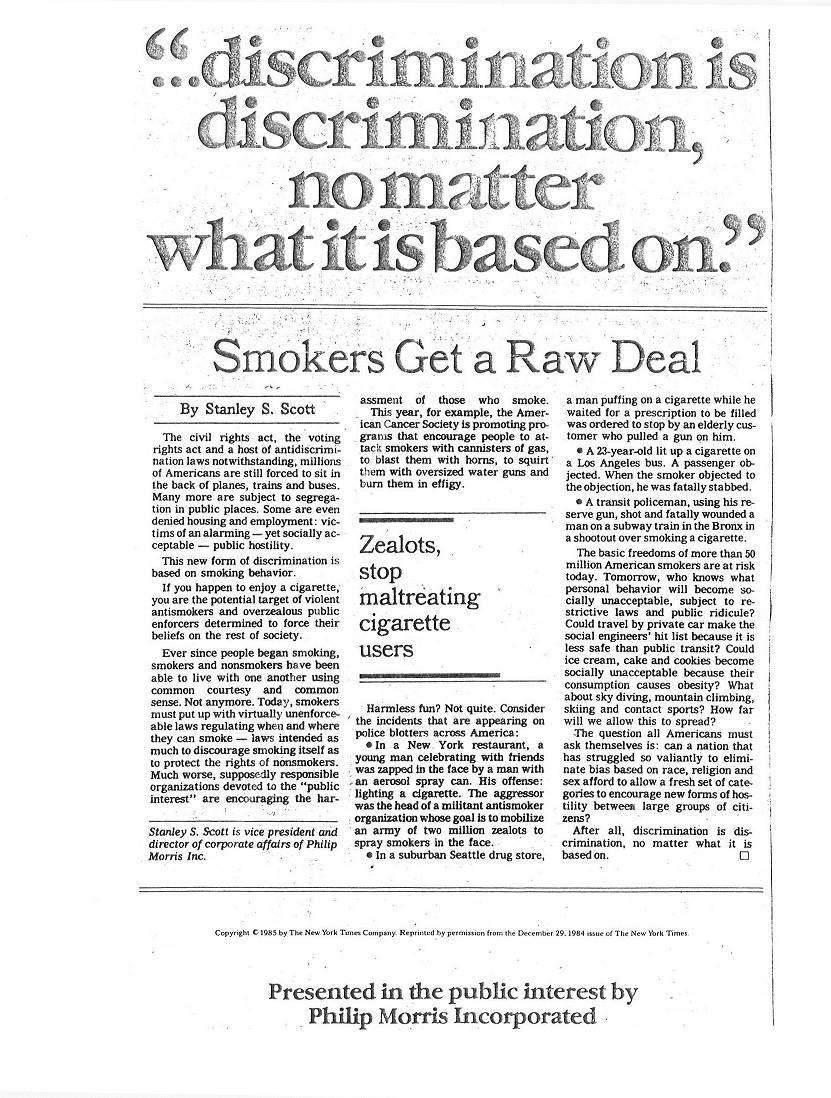 1985 NY Times Smokers Get a Raw Deal 1