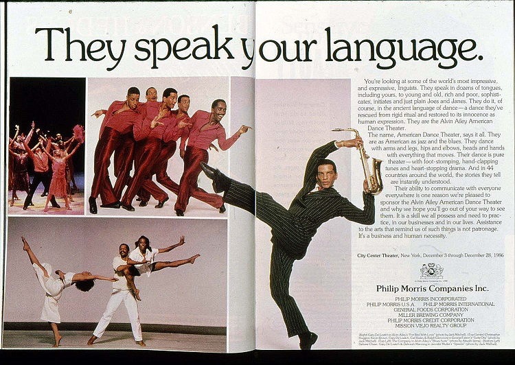 1986 Alvin Ailey Dance Theater Ad Sponsor PM 1