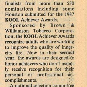 1987 Houston Defender Nominees Being Reviewed for Kool Awards 1