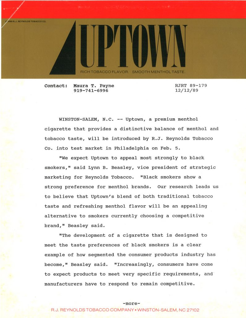1989 12 12 RJR Press Release Launch of New Brand Uptown Pg 1