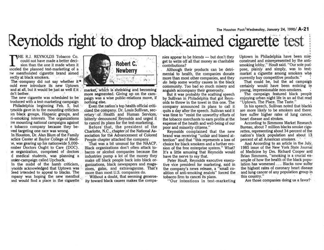 1990 Houston Post Reynolds Right to Drop Black Aimed Cig Test 1