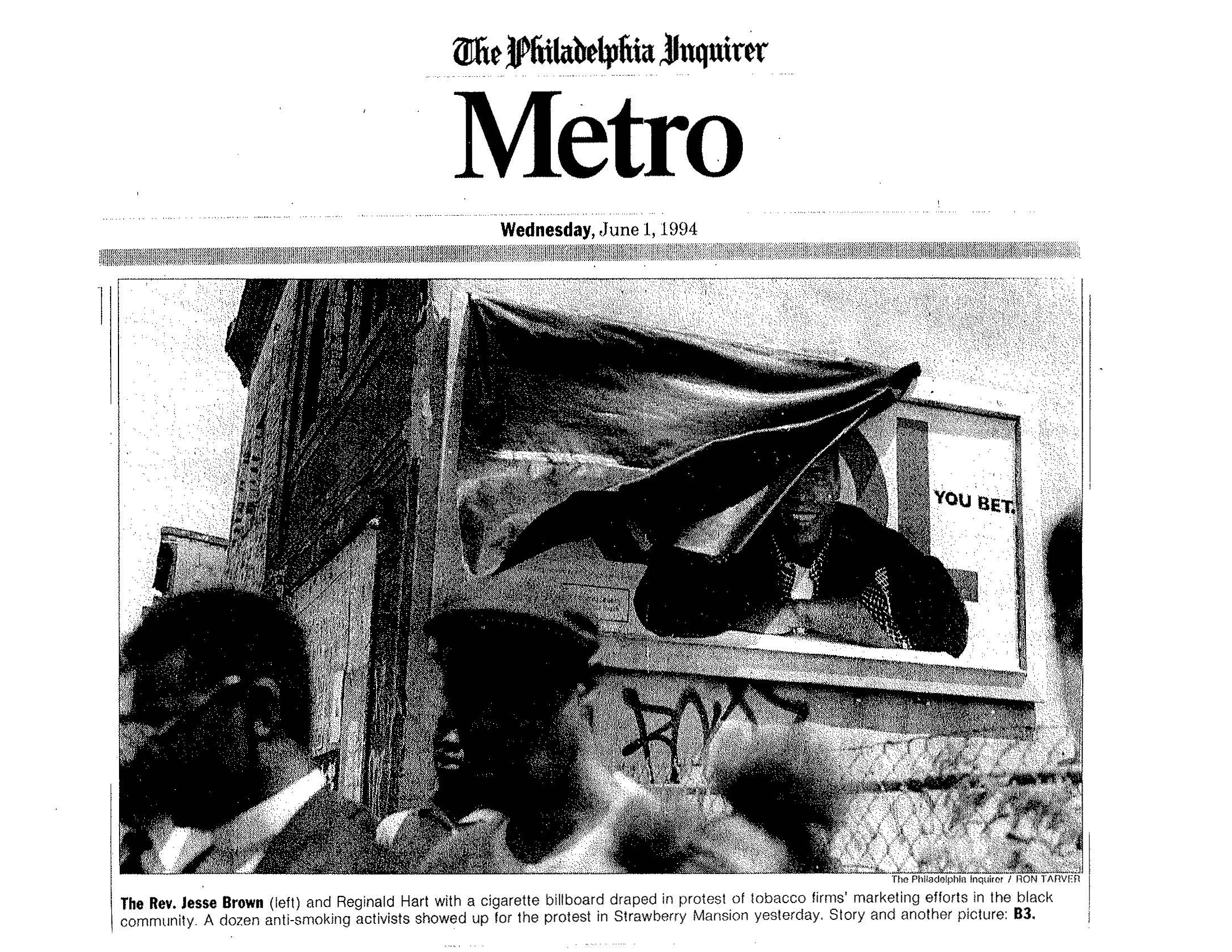 1994 06 01 Phil. Inquirer Billboard Draped in Mourning Pg 1