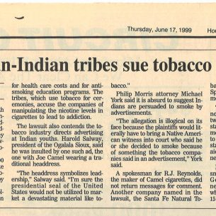 1999 06 17 Houston Chronicle 34 Indian Tribes Suit Tobacco Companies