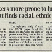 2006 01 26 BM News Black Smokers More Prone to Lung Cancer Pg 1