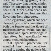 2008 05 30 NY Times Black Group Turns Away from Smoking Bill Pg 1