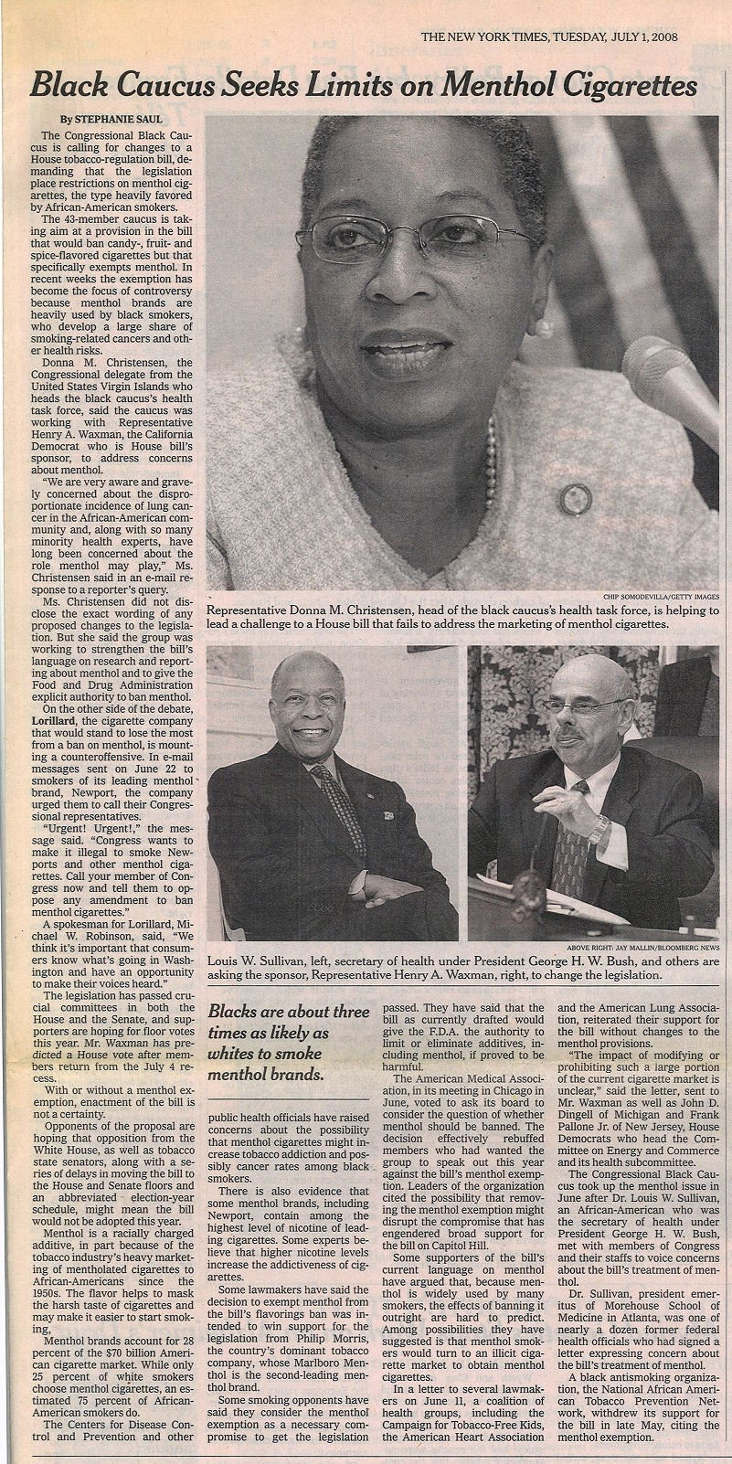 2008 07 01 NY Times Black Caucus Seeks Limits on Menthol Cigs 1