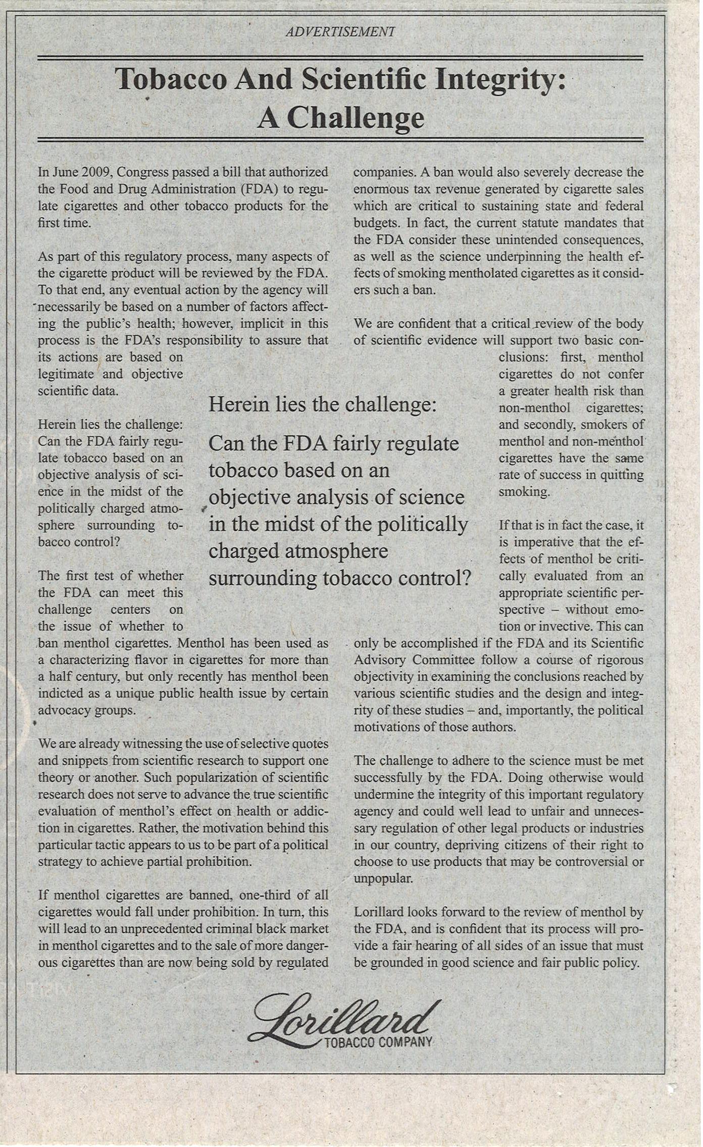 2009 12 23 WSJ Lorillard Ad Tobacco Scientific Integrity