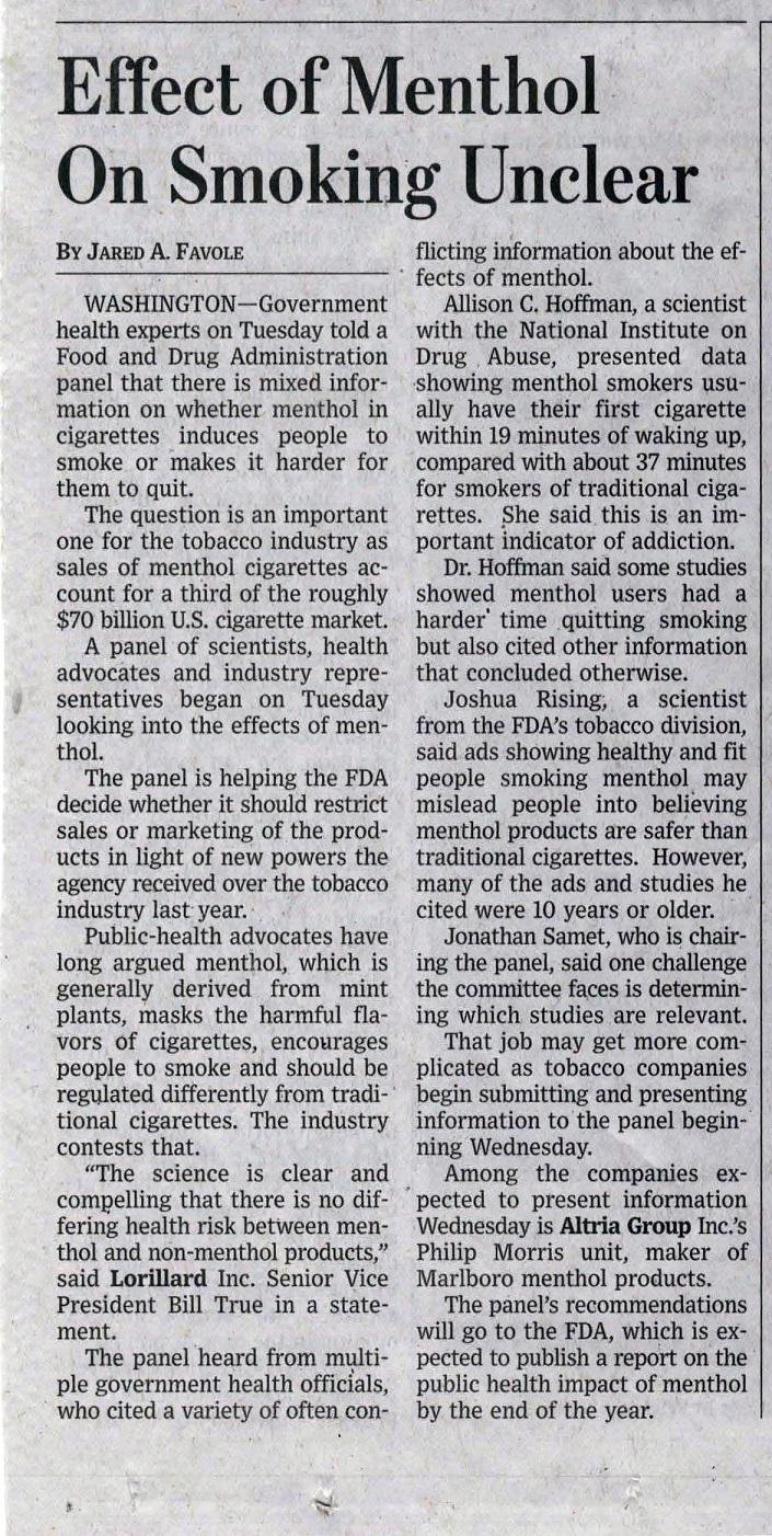 2010 03 31 WSJ Effect of Menthol on Smoking Unclear 4