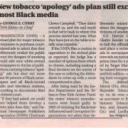 2014 NY Amsterdam News Tobacco Apology Ad Excludes Most Black Media Pg 1