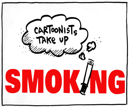 Cartoonists Take Up Smoking Logo Square Boxed
