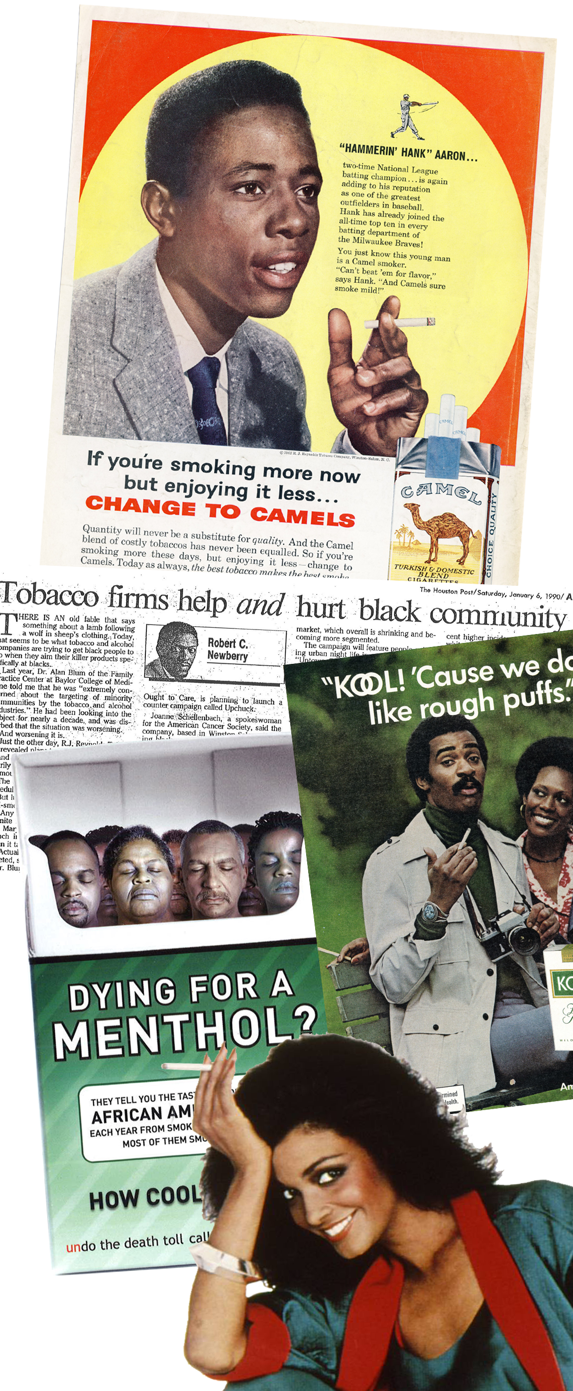 Minorities Exhibition Collage of Tobacco Ads Featuring Minorities