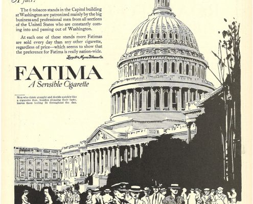 1918 08 08 Life Fatima Ad 6 Tobacco Stands in US Capitol 1