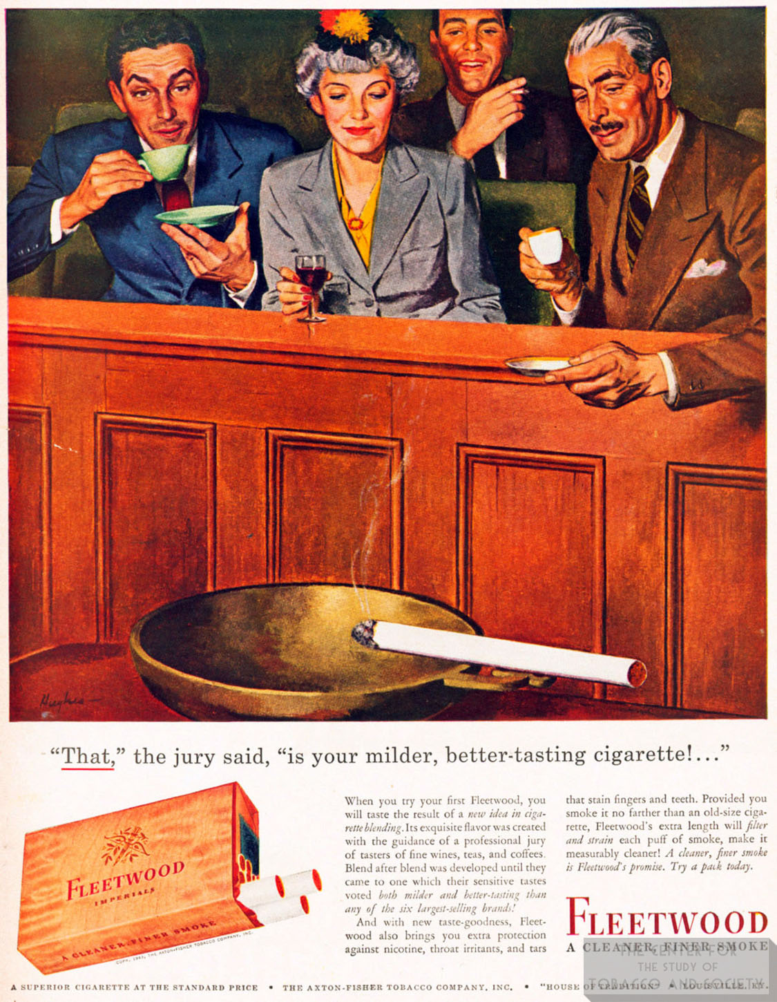 1943 Fleetwood Ad Jury Agrees on Better Tasting Cig 1