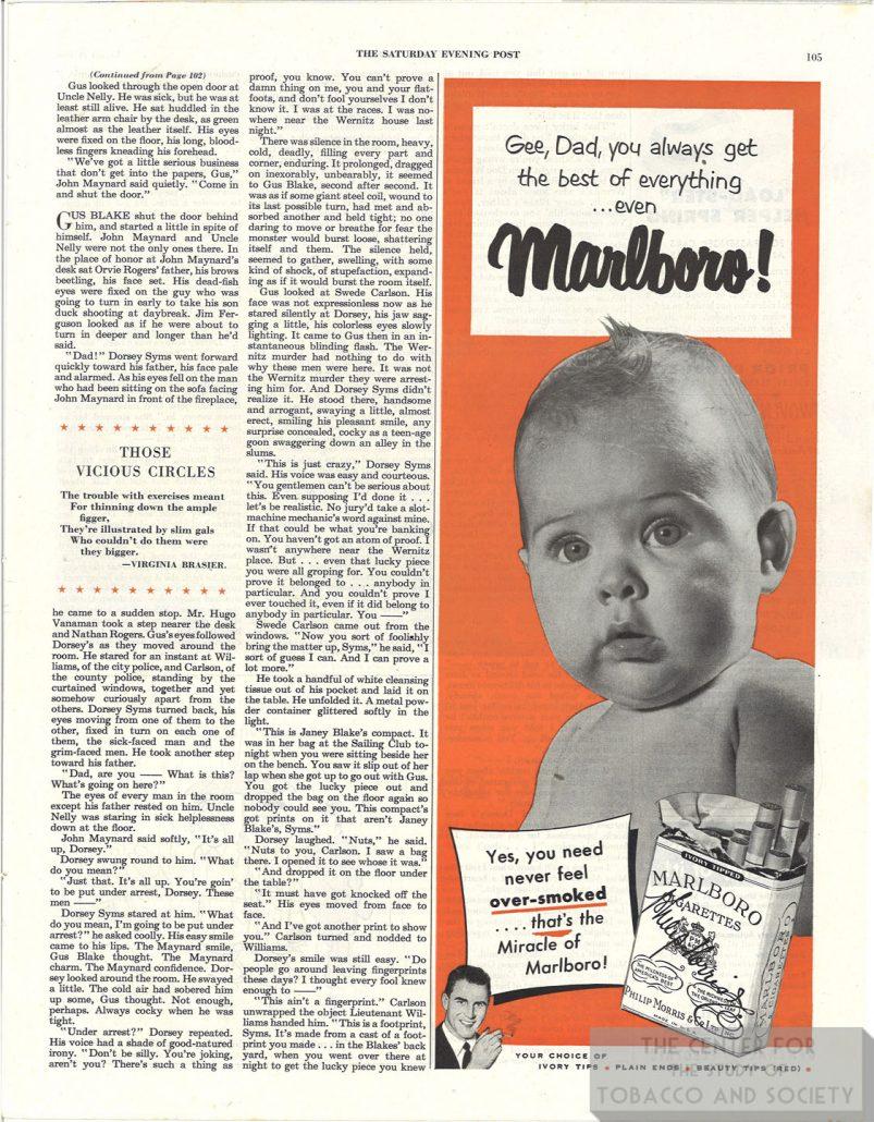 1950 Marlboro Baby Ad Gee Dad You Always Get the Best