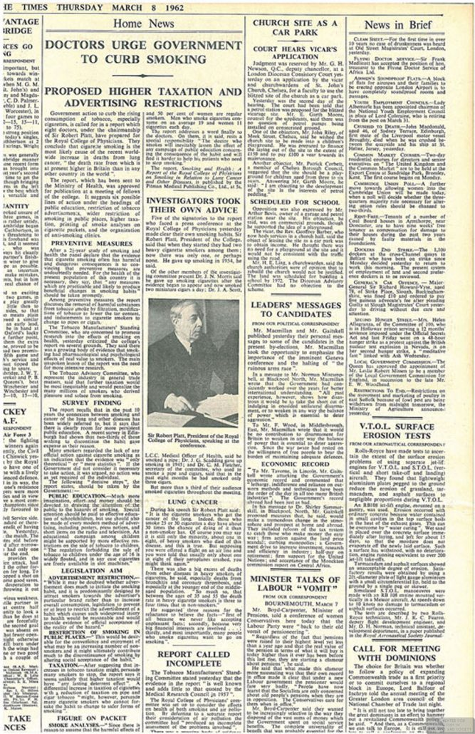1962 03 08 The Times Drs Urge Govt. to Curb Smoking