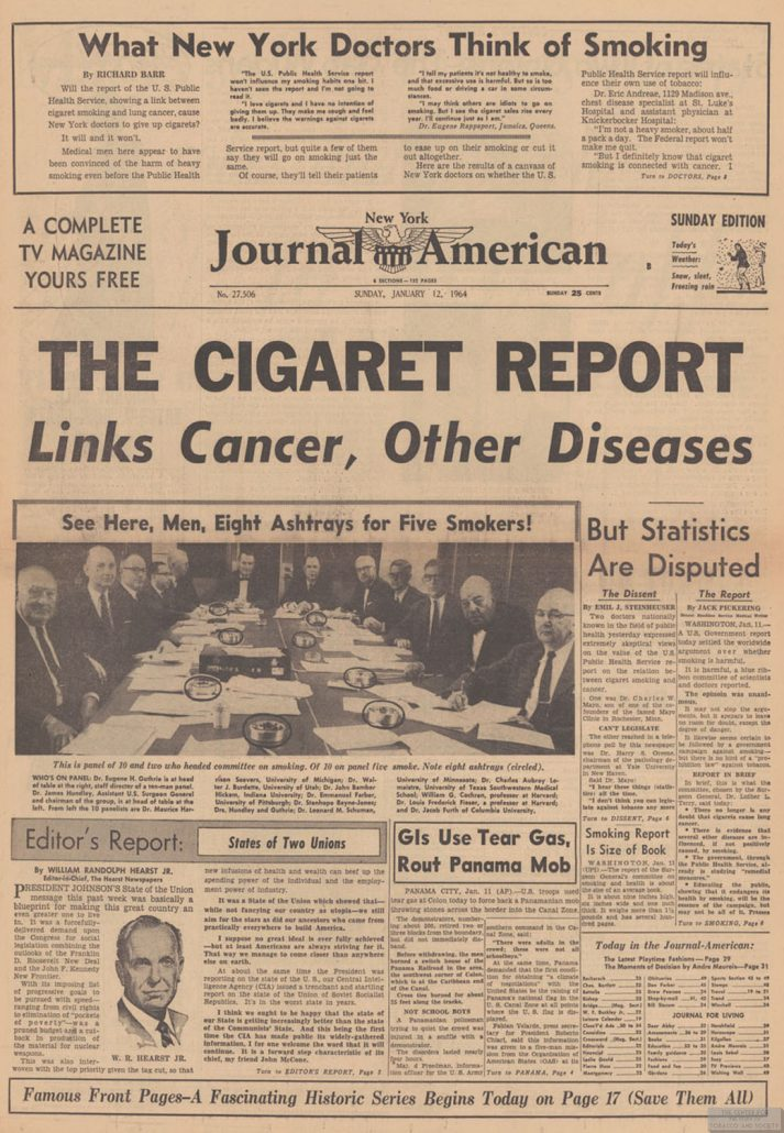 1964 01 12 NY Journal American Cig Report Links Cancer
