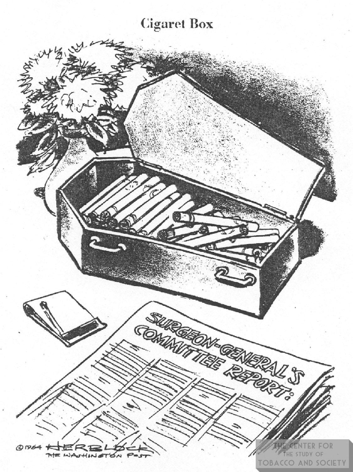 1964 Herblock Cartoon Coffin Cig Box