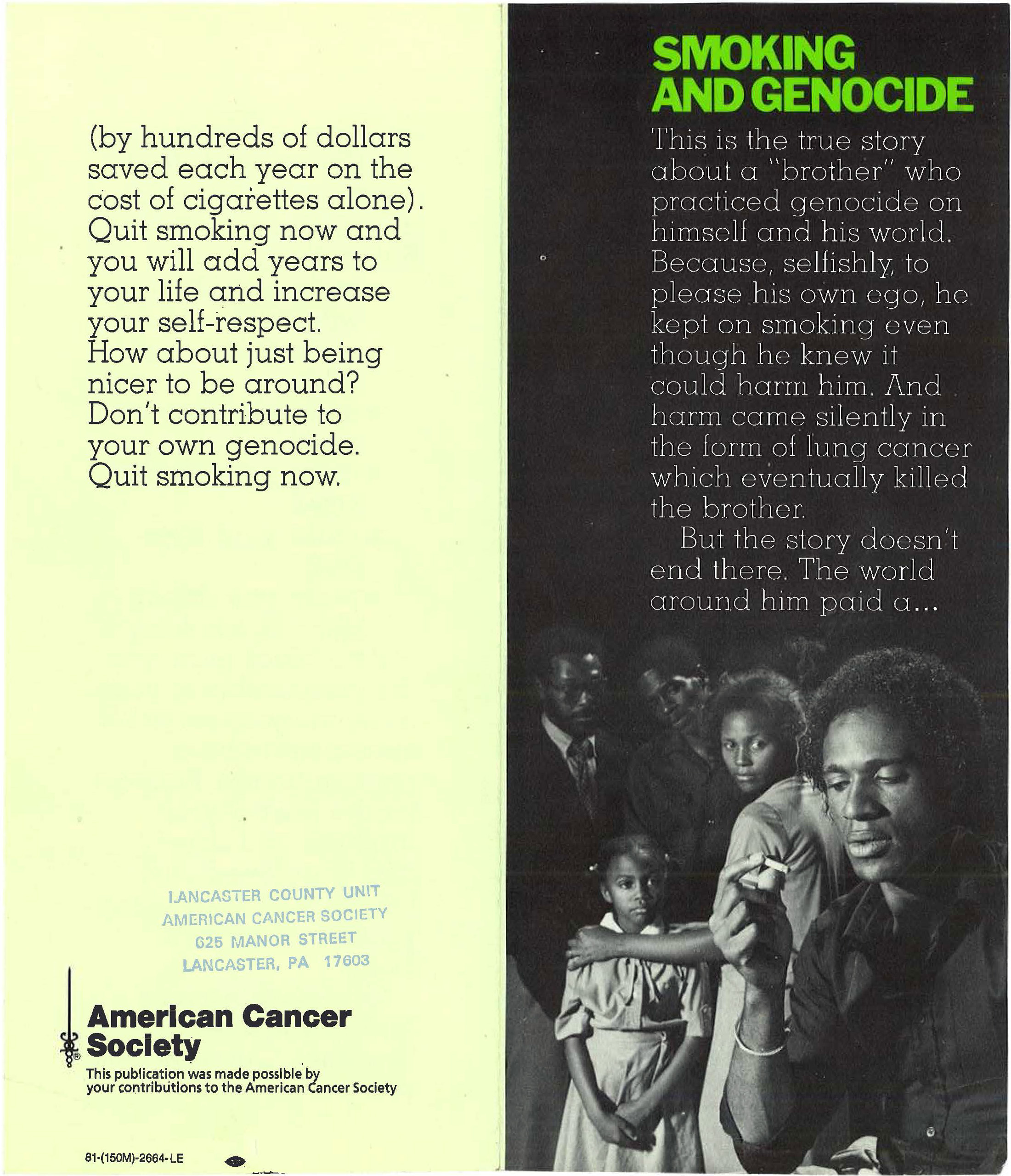 1981 American Cancer Society Smoking Genocide Brochure 1